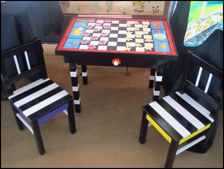 checkerboard table with chairs